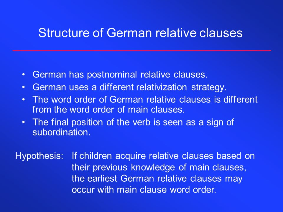 Structure of German relative clauses