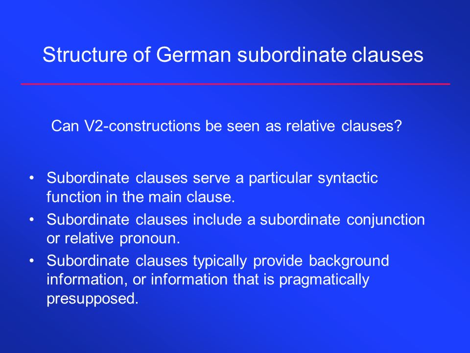 Structure of German subordinate clauses