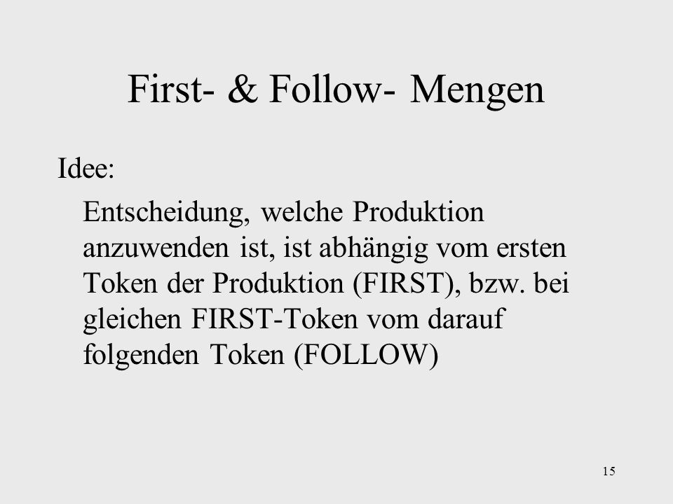 First- & Follow- Mengen