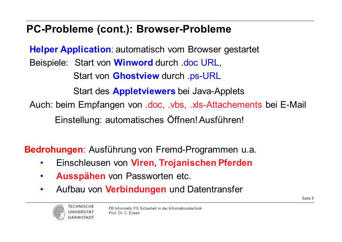 PC-Probleme (cont.): Browser-Probleme