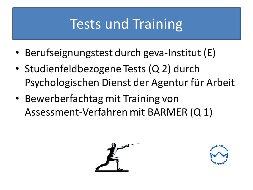 Tests und Training Berufseignungstest durch geva-Institut (E)
