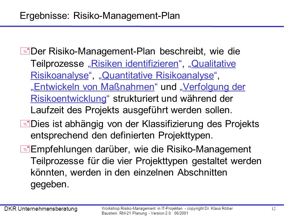 Ergebnisse: Risiko-Management-Plan