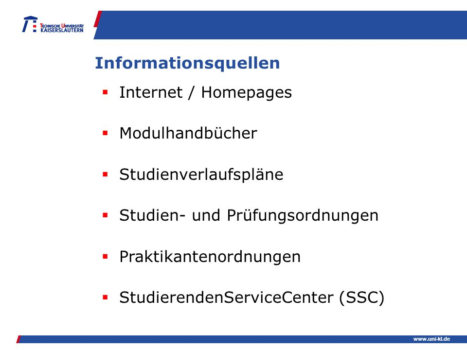 Informationsquellen Internet / Homepages Modulhandbücher