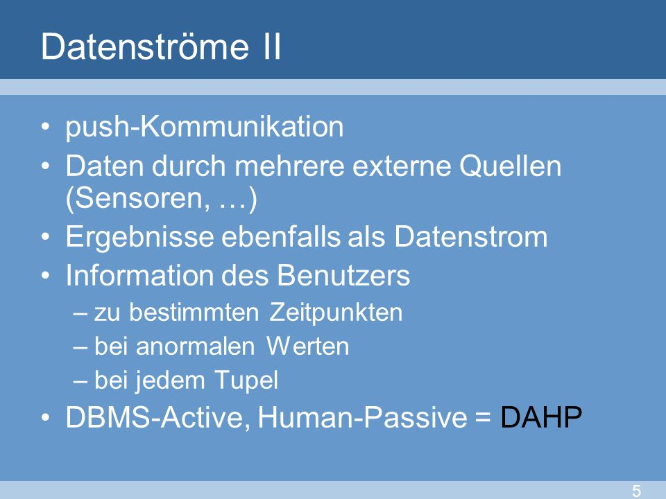 Datenströme II push-Kommunikation