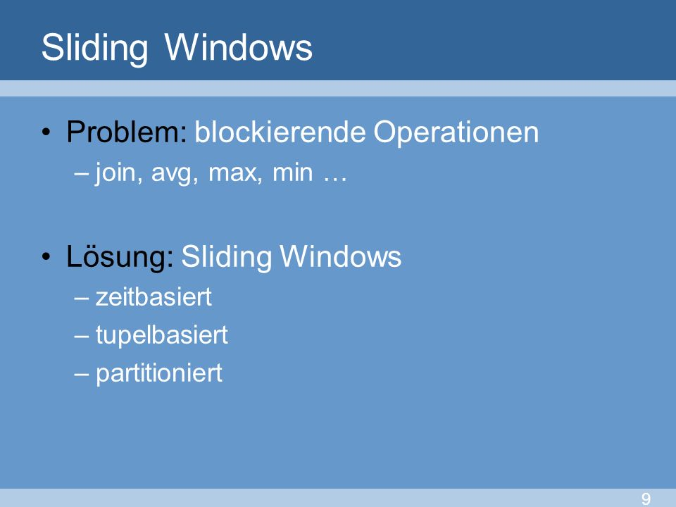 Sliding Windows Problem: blockierende Operationen