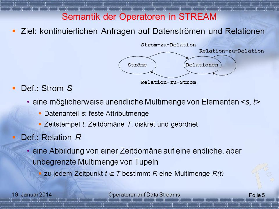 Semantik der Operatoren in STREAM