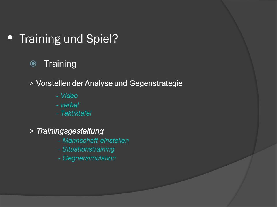 Training und Spiel Training - Video