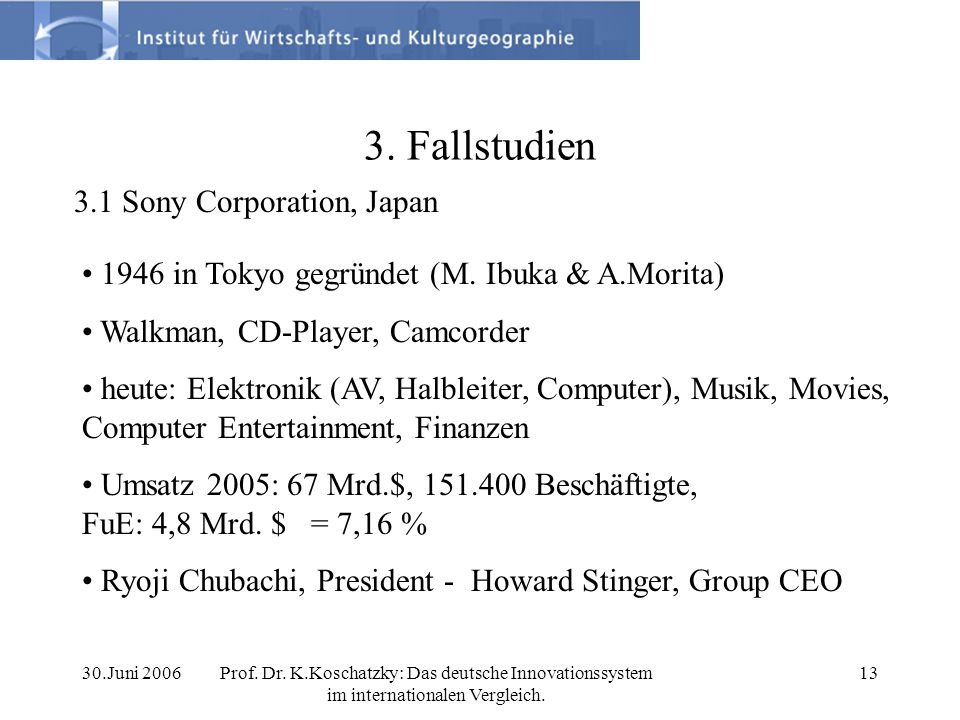 3. Fallstudien 3.1 Sony Corporation, Japan
