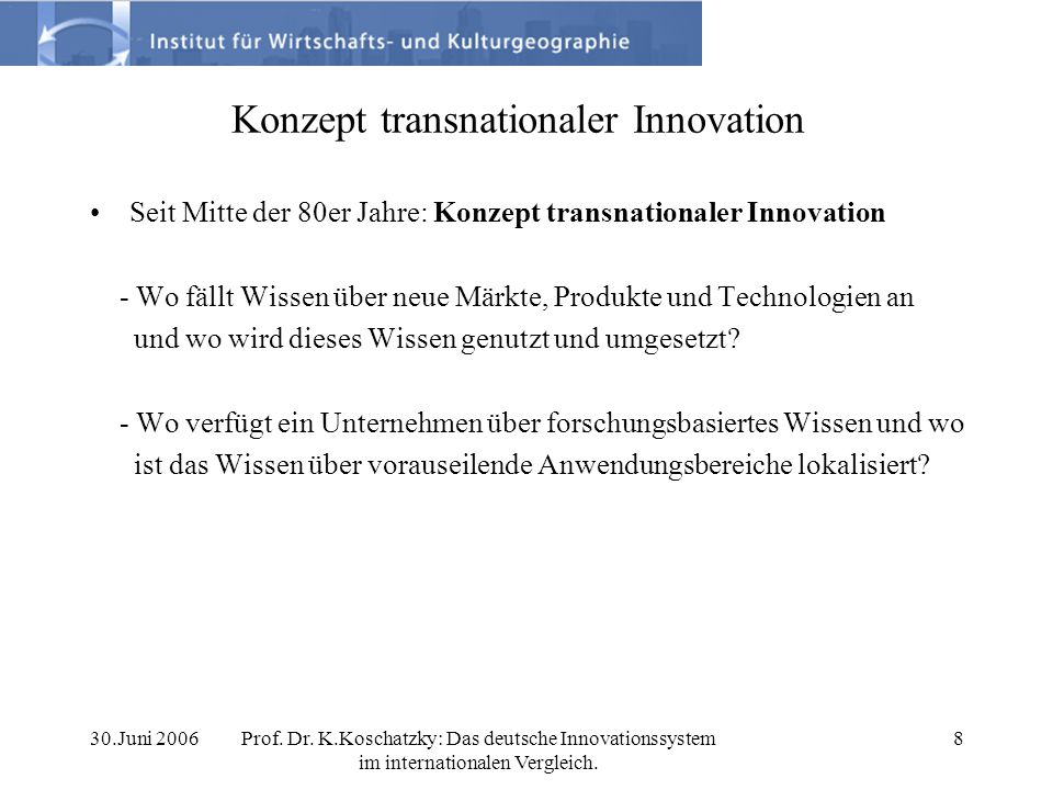 Konzept transnationaler Innovation