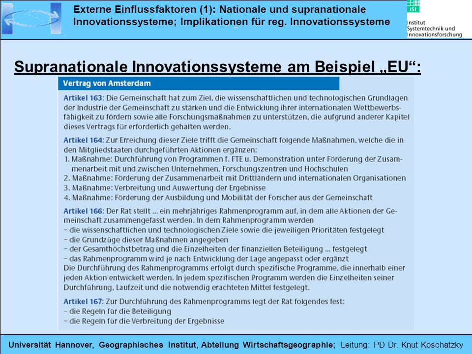"Supranationale Innovationssysteme am Beispiel ""EU :"