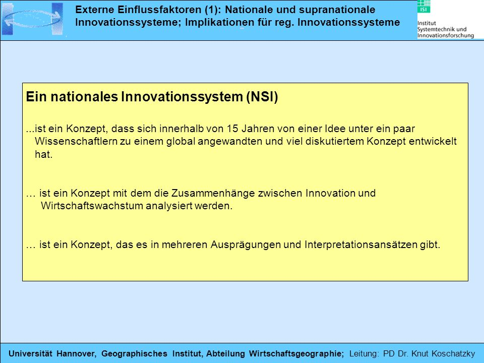 Ein nationales Innovationssystem (NSI)