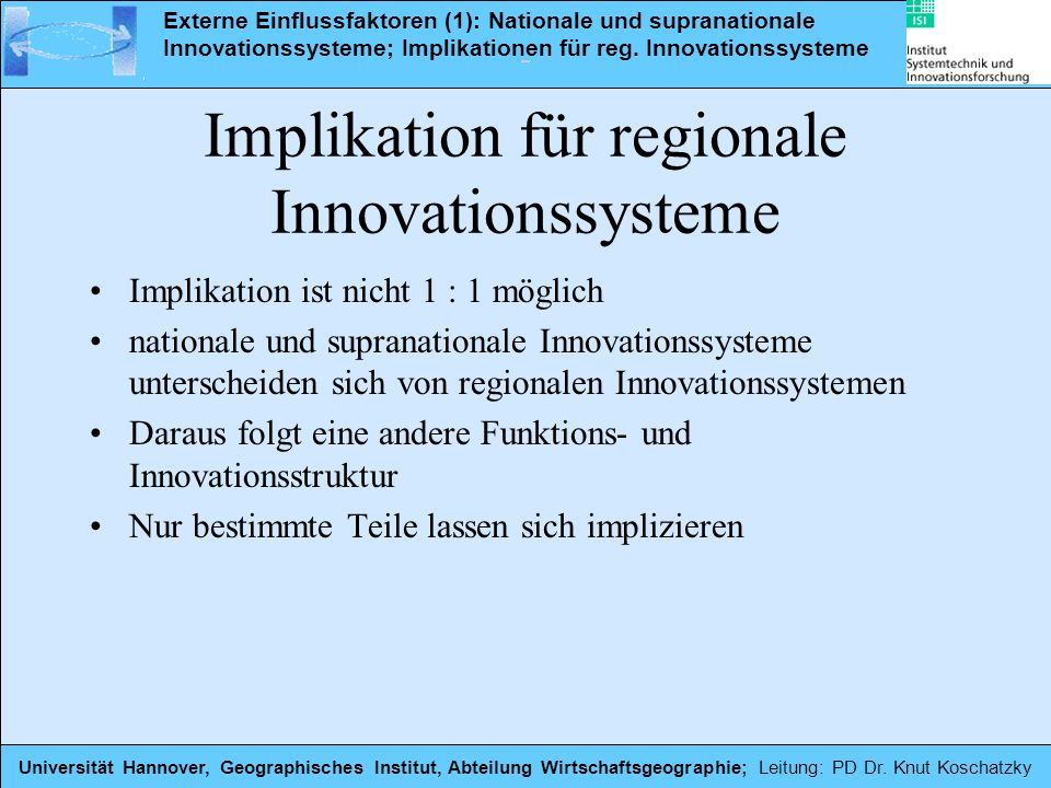 Implikation für regionale Innovationssysteme