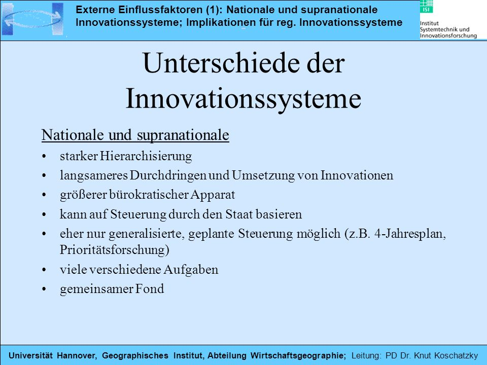Unterschiede der Innovationssysteme