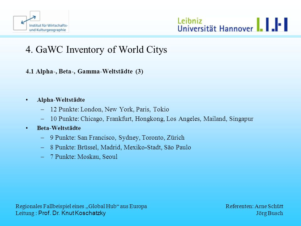 4. GaWC Inventory of World Citys
