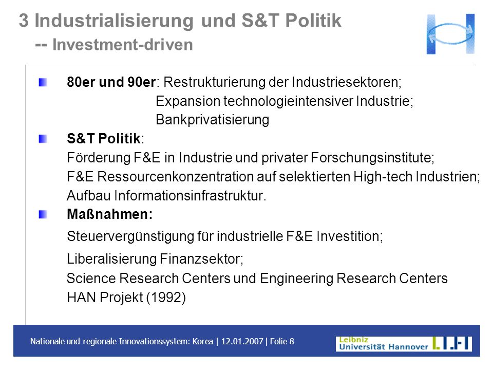 3 Industrialisierung und S&T Politik -- Investment-driven