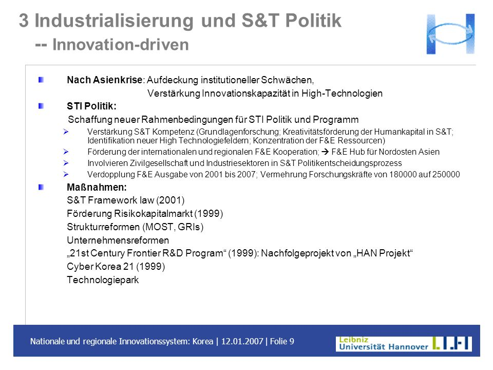 3 Industrialisierung und S&T Politik -- Innovation-driven