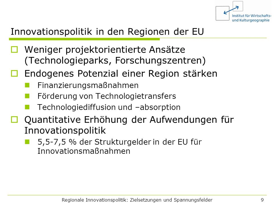 Innovationspolitik in den Regionen der EU