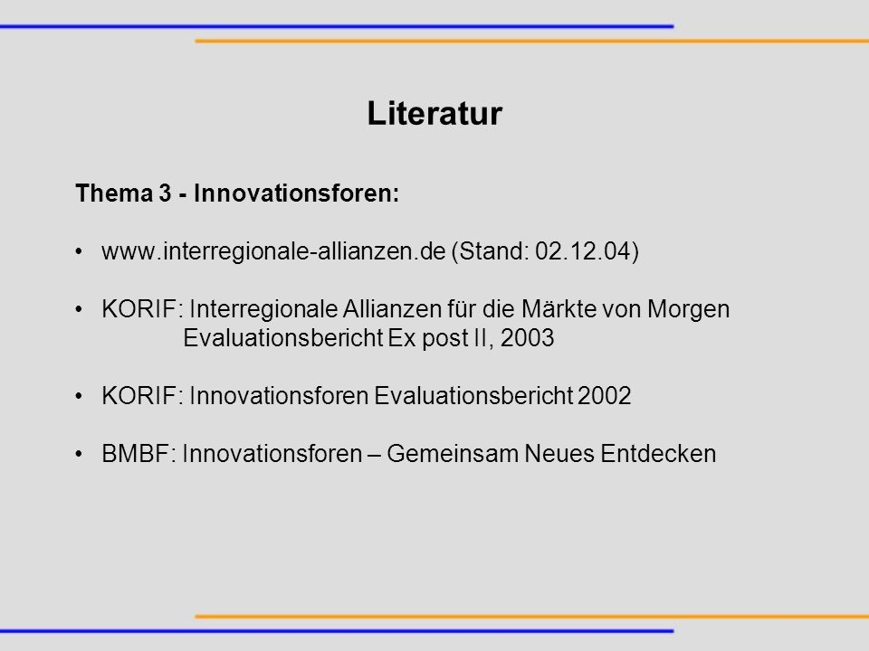 Literatur Thema 3 - Innovationsforen: