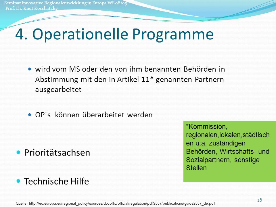 4. Operationelle Programme
