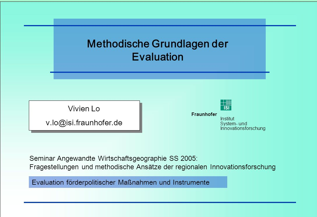 Methodische Grundlagen der Evaluation