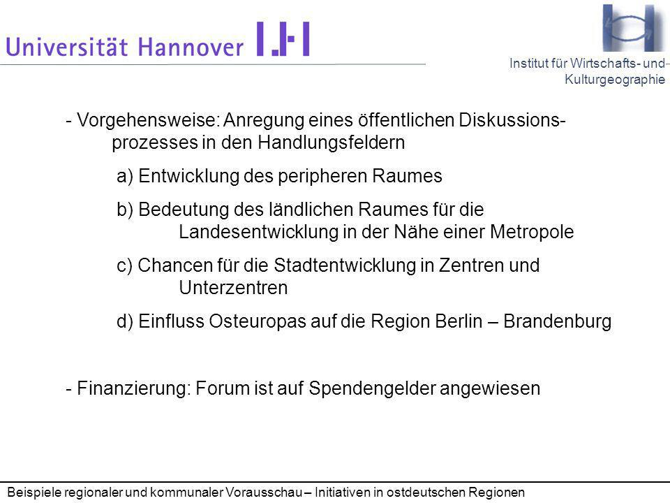 a) Entwicklung des peripheren Raumes