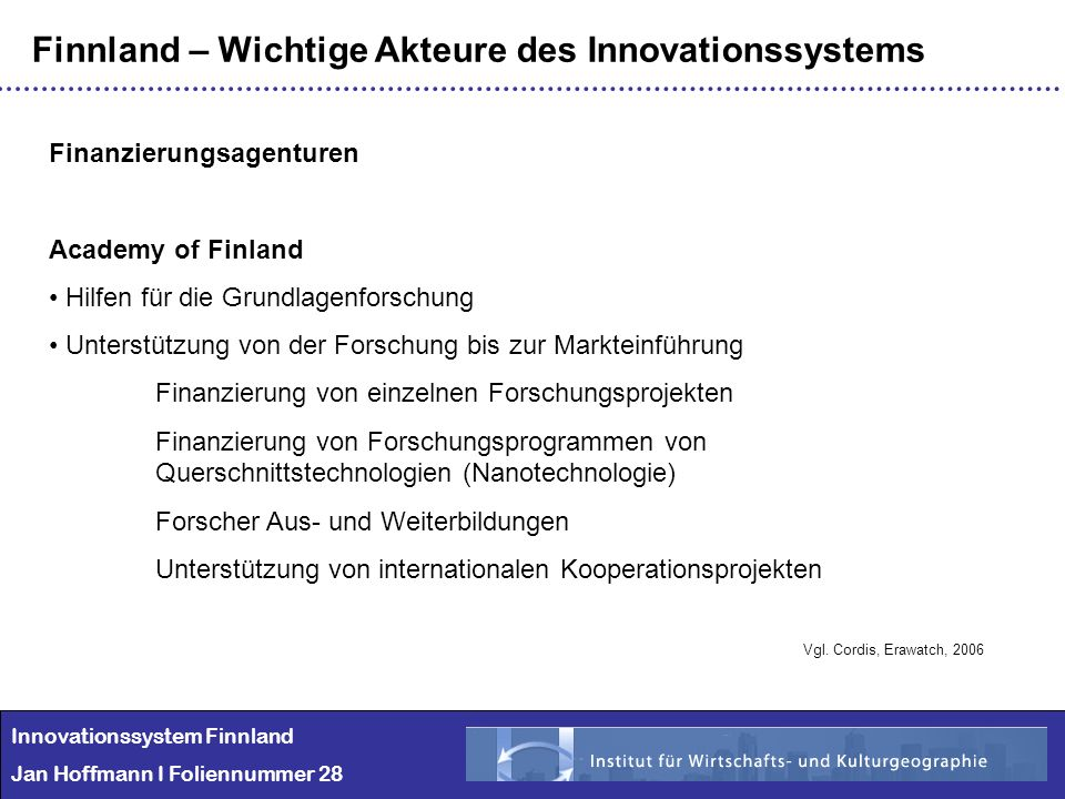 Finnland – Wichtige Akteure des Innovationssystems