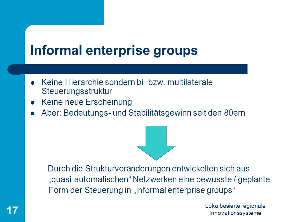 Informal enterprise groups