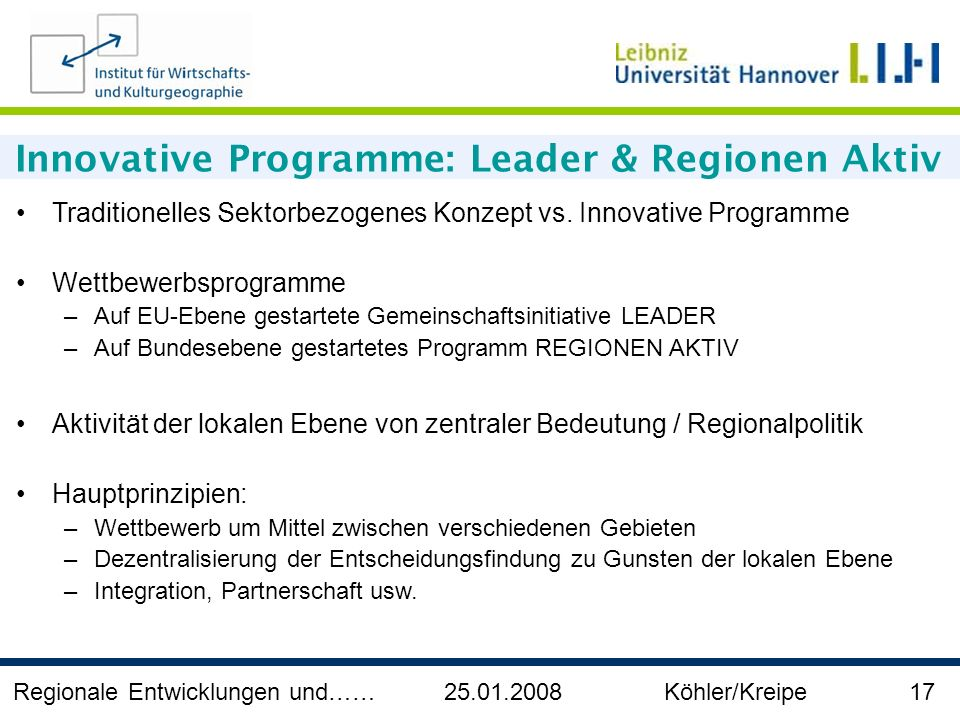 Innovative Programme: Leader & Regionen Aktiv