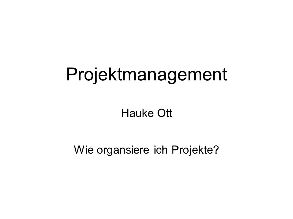 Projektmanagement Hauke Ott