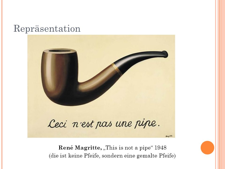 "Repräsentation René Magritte, ""This is not a pipe 1948"