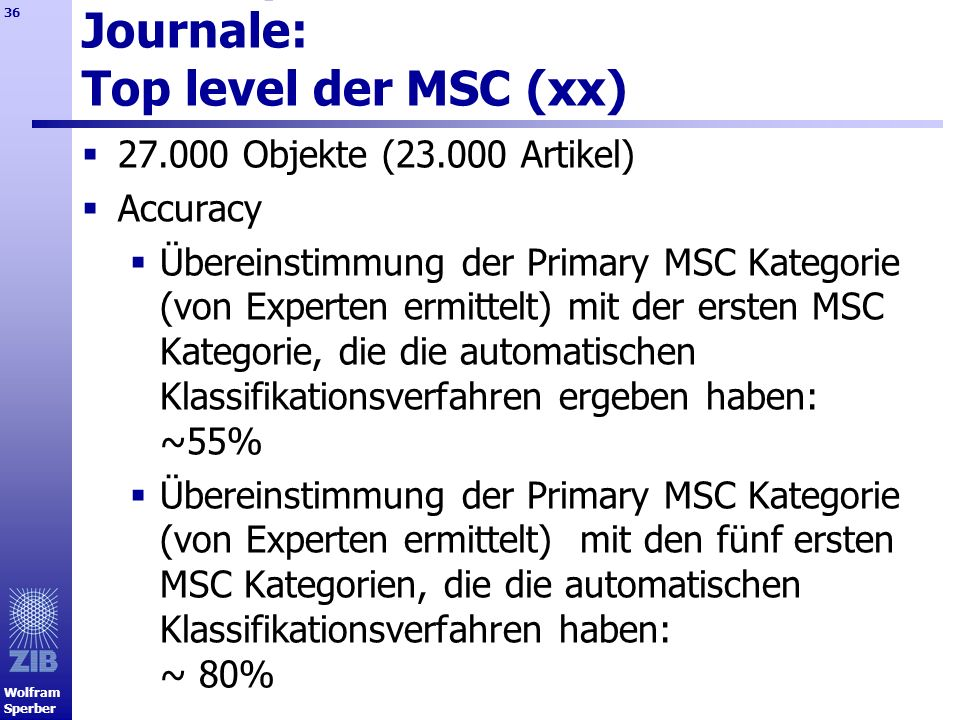 Test Report für mathematische Journale: Top level der MSC (xx)
