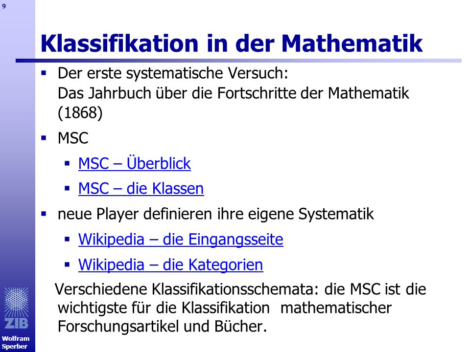 Klassifikation in der Mathematik
