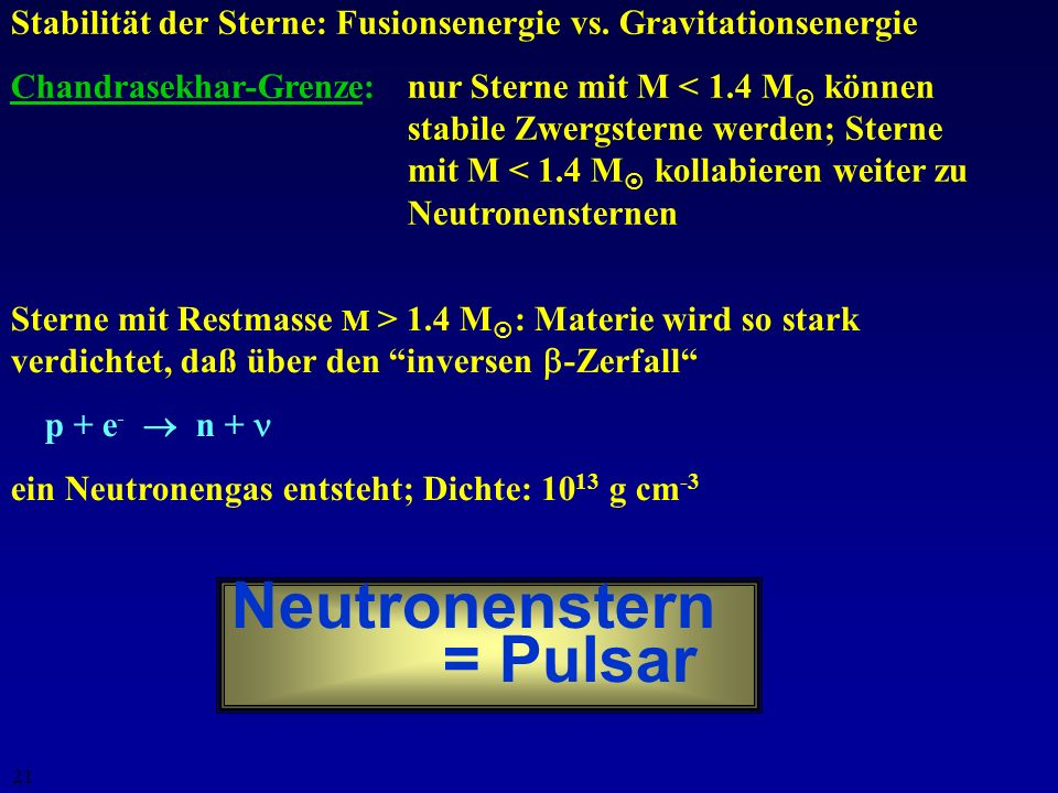 Neutronenstern = Pulsar