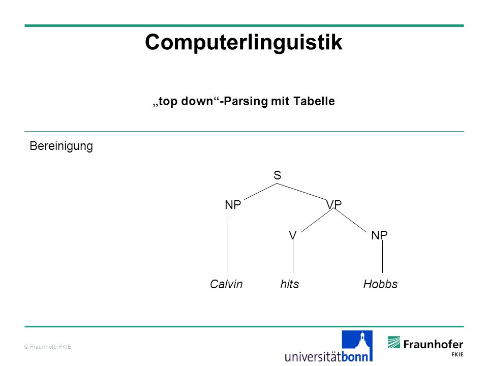 """top down -Parsing mit Tabelle"