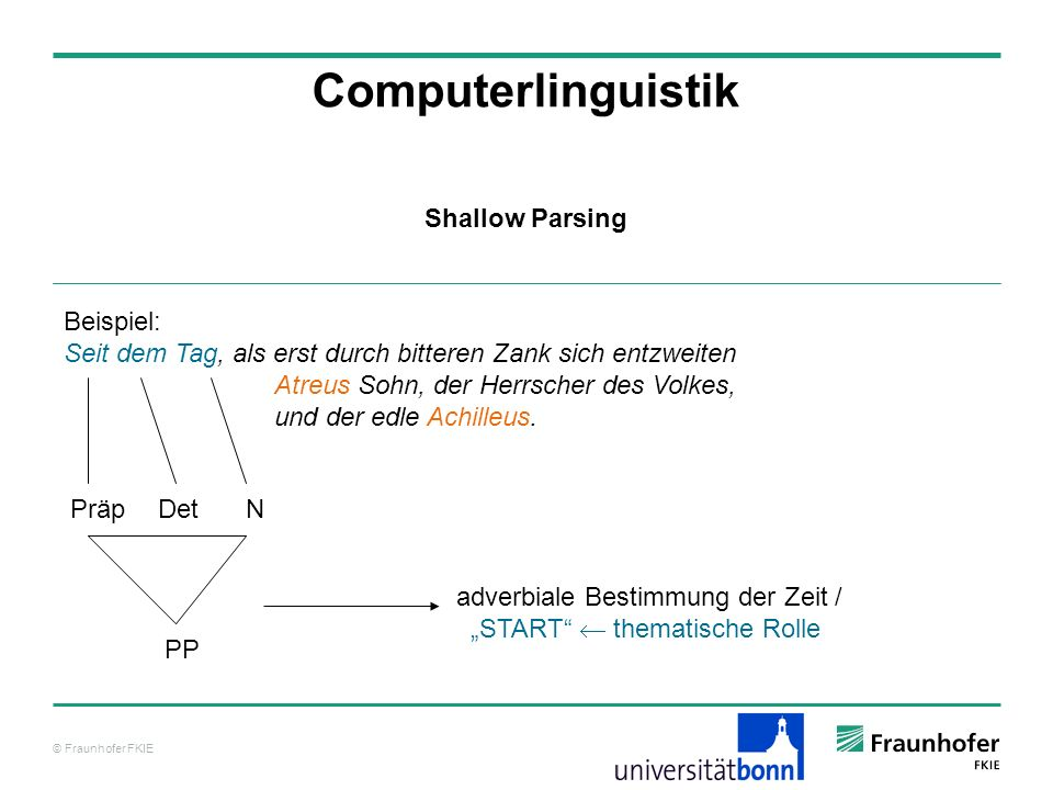 Computerlinguistik Shallow Parsing Beispiel: