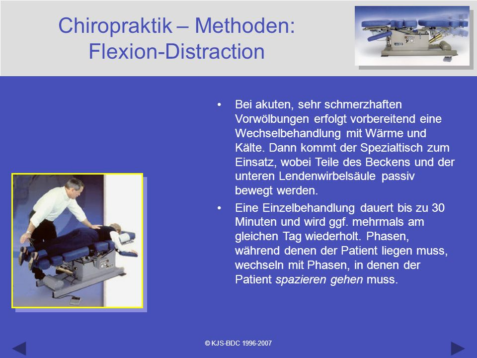 Chiropraktik – Methoden: Flexion-Distraction