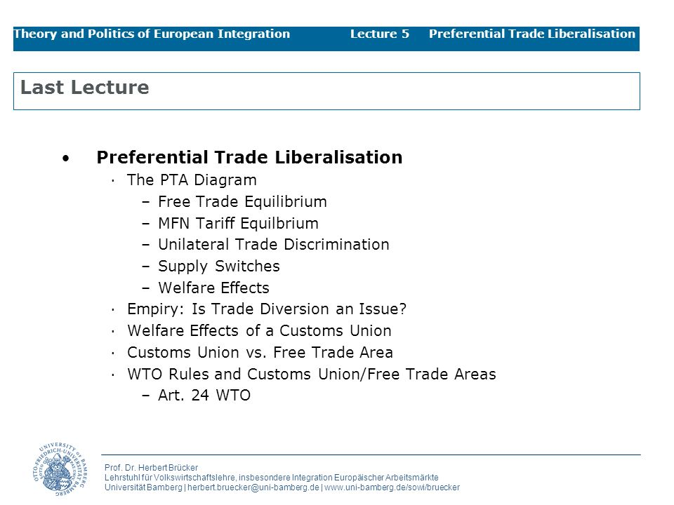 Last Lecture Preferential Trade Liberalisation The PTA Diagram