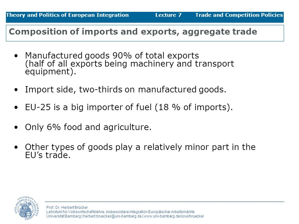 Composition of imports and exports, aggregate trade