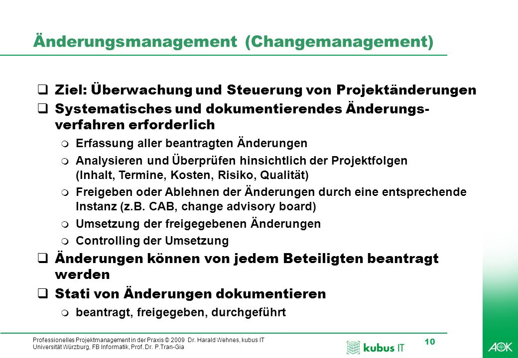 Änderungsmanagement (Changemanagement)