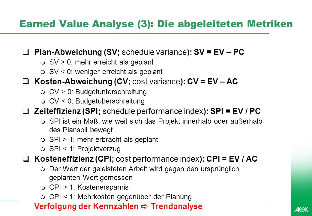 Earned Value Analyse (3): Die abgeleiteten Metriken