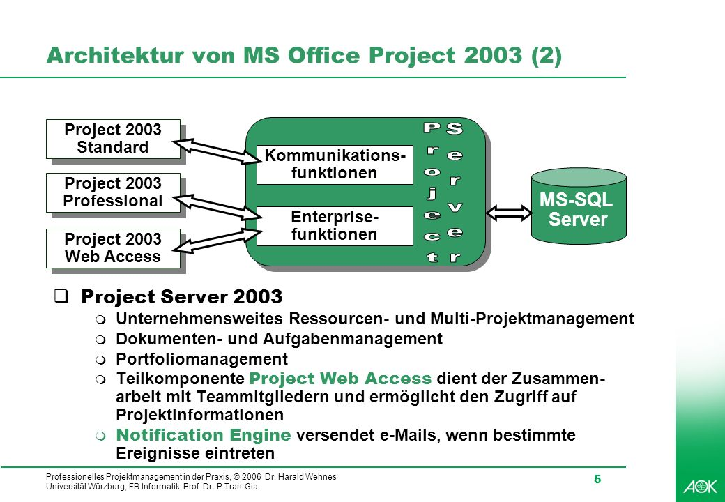 Architektur von MS Office Project 2003 (2)
