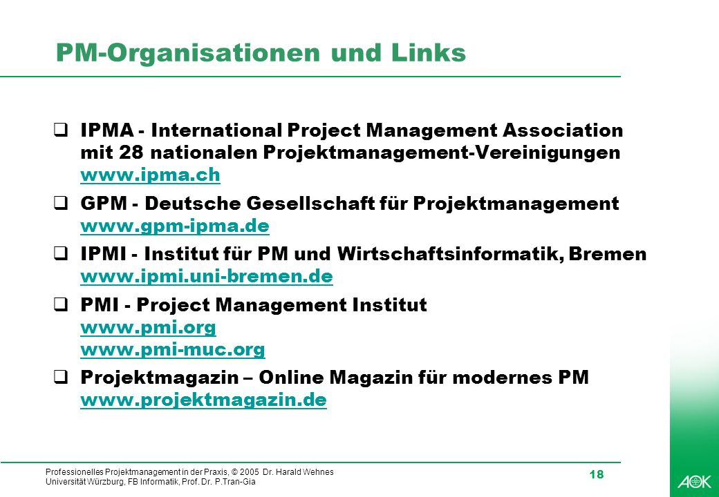 PM-Organisationen und Links