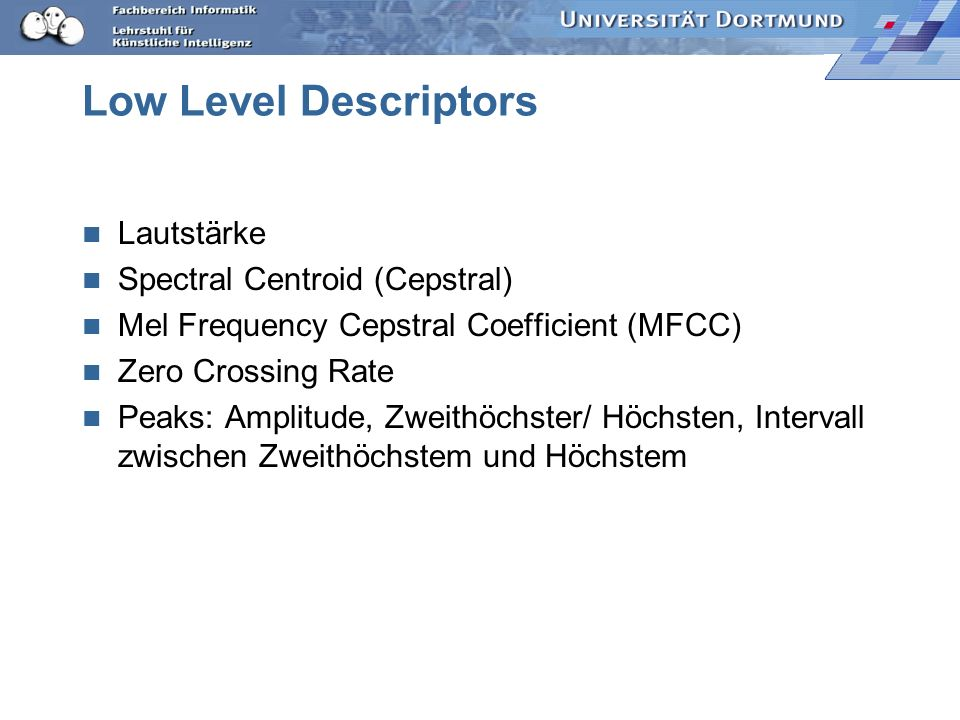 Low Level Descriptors Lautstärke Spectral Centroid (Cepstral)