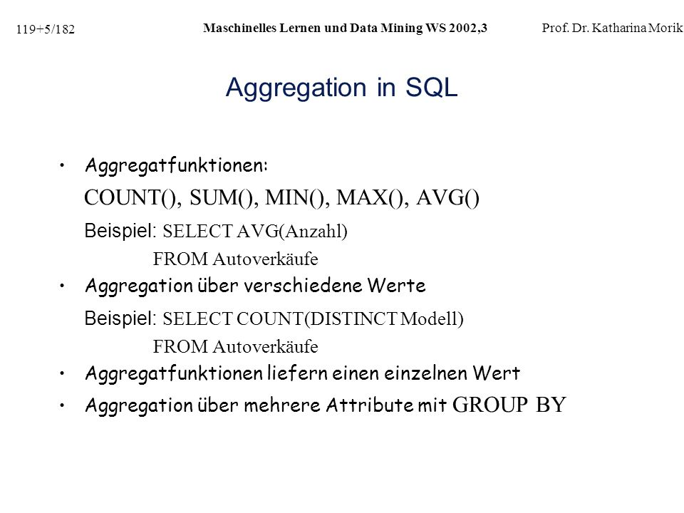 Aggregation in SQL COUNT(), SUM(), MIN(), MAX(), AVG()