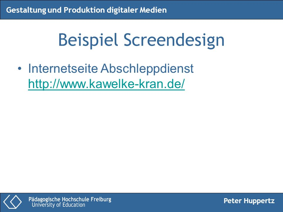Beispiel Screendesign