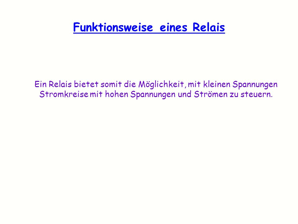 Funktionsweise eines Relais