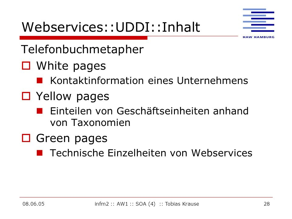 Webservices::UDDI::Inhalt