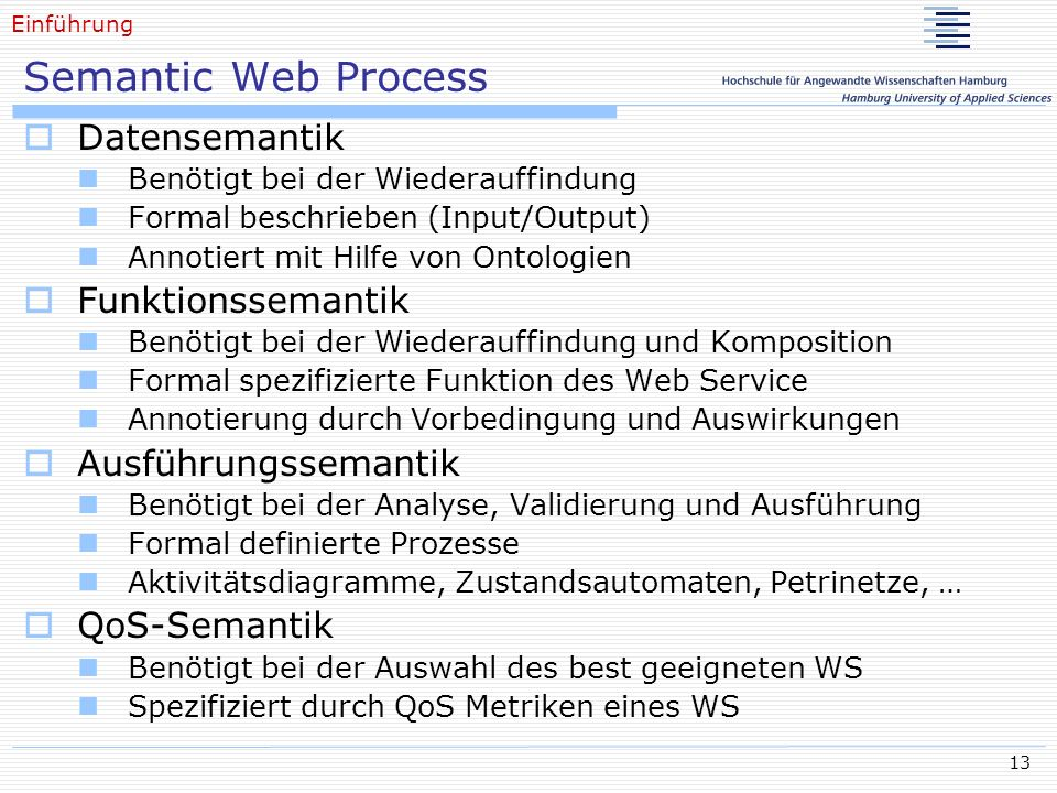 Semantic Web Process Datensemantik Funktionssemantik