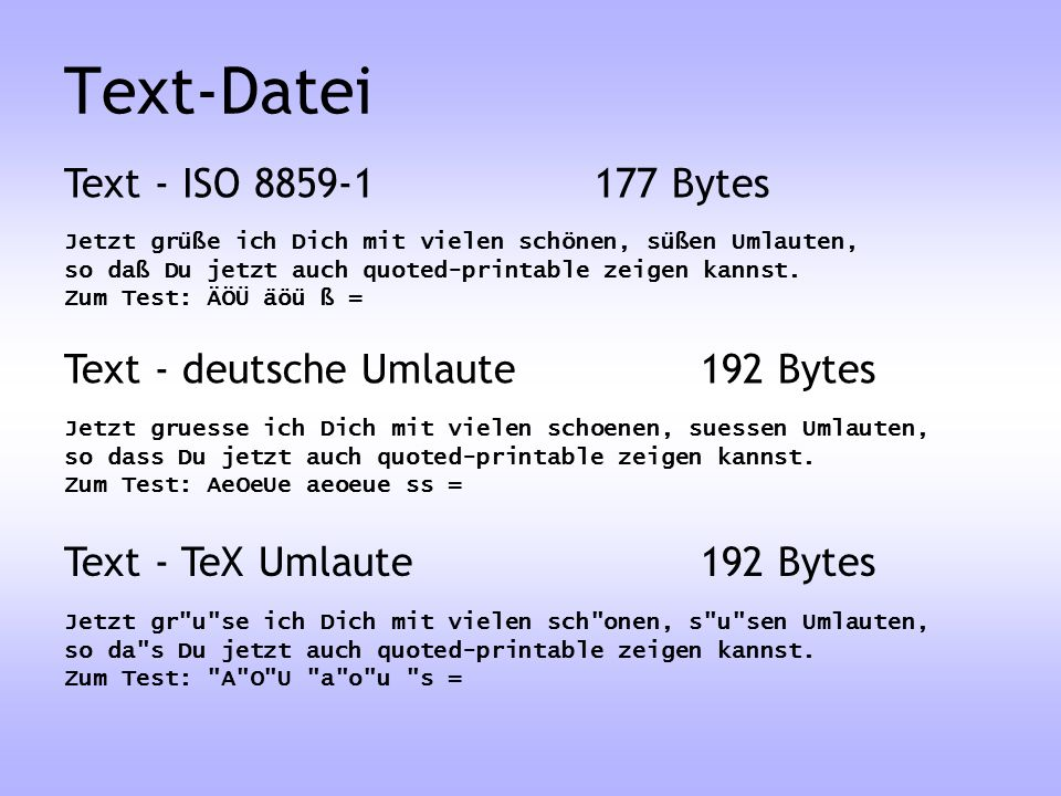 Text-Datei Text - ISO Bytes