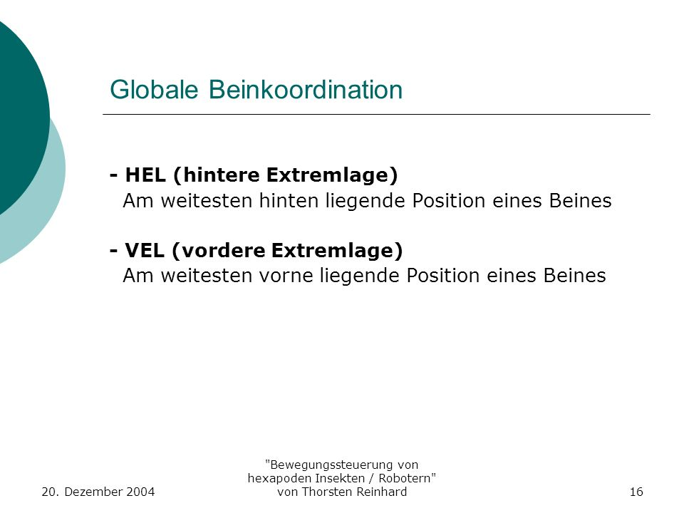 Globale Beinkoordination